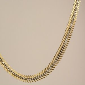 Givenchy Gold and Silver Ribbed Necklace